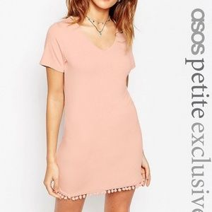 Asos TShirt Dress with Pom Pom Hem